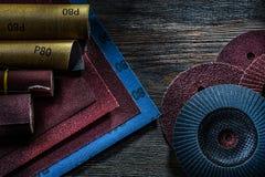 Set of abrasive tools on vintage wood background stock photos