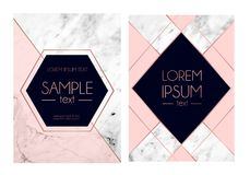 Set of absctract marble textured backgrounds, pink, navy blue co. Lors and rose gold geometric lines. Modern design template for invitation, wedding, greeting royalty free illustration