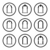 Set of abstract arch silhouette. Arch icon Stock Photography