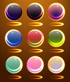 Set of the abstract atomic spheres Royalty Free Stock Image