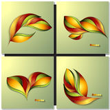 Set of Abstract autumn different color leaves. Paper design Royalty Free Stock Photography