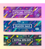 Set of abstract background banner. With multicolored simple geometric shapes and copy space frame Royalty Free Stock Photos