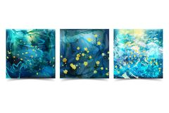 Set Abstract Background Chaotic Brushstrokes in Blue Tones royalty free illustration