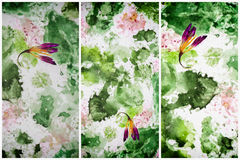Set with abstract background, modern halftones with hand drawn watercolor. Spring color concept, for banner design Royalty Free Stock Images