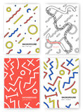Set of abstract background. Trendy posters with geometric patterns and shapes. Memphis style backdrop with place for. Text royalty free illustration