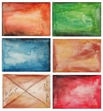 Set of abstract backgrounds. Artistic work, watercolors on paper Royalty Free Stock Images