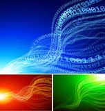 Set of abstract backgrounds. With binary wavesrEps10 transparency effects. RGB. Organized by layers Global colors. Gradients used Royalty Free Stock Images
