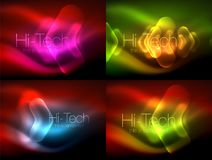 Set of abstract backgrounds. Blurred arrows in dark space. Neon pointers, glass glossy design, abstract techno. Background, web banner, vector illustration royalty free illustration