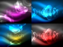 Set of abstract backgrounds. Blurred arrows in dark space. Neon pointers, glass glossy design, abstract techno. Background, web banner, vector illustration Stock Photography