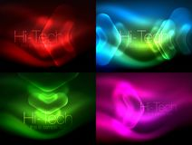 Set of abstract backgrounds. Blurred arrows in dark space. Neon pointers, glass glossy design, abstract techno. Background, web banner, vector illustration stock illustration