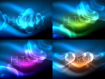 Set of abstract backgrounds. Blurred arrows in dark space. Neon pointers, glass glossy design, abstract techno. Background, web banner, vector illustration Stock Photo