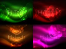 Set of abstract backgrounds. Blurred arrows in dark space. Neon pointers, glass glossy design, abstract techno. Background, web banner, vector illustration Royalty Free Stock Image