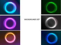 Set of abstract backgrounds with circle. Vector illustration Stock Photos