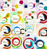 Set of abstract backgrounds. Circles, swirls and. Waves with copyspace for your message. Banner advertising layouts - templates, identity and wallpapers Stock Photo