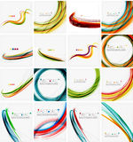 Set of abstract backgrounds. Circles, swirls and. Waves with copyspace for your message. Banner advertising layouts - templates, identity and wallpapers Royalty Free Stock Photography