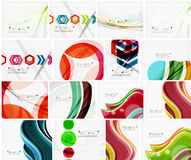 Set of abstract backgrounds. Circles, swirls and. Waves with copyspace for your message. Banner advertising layouts - templates, identity and wallpapers stock illustration