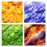 Set of abstract backgrounds with colorful triangles. Royalty Free Stock Photography