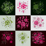 Set of  abstract backgrounds created in Bauhaus retro styl Royalty Free Stock Image