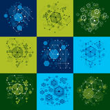 Set of  abstract backgrounds created in Bauhaus retro styl. E using honeycombs and circles. Modern geometric composition can be used as templates and layouts Royalty Free Stock Image
