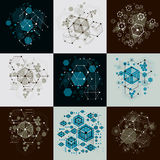 Set of  abstract backgrounds created in Bauhaus retro styl Royalty Free Stock Photo