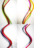Set of abstract backgrounds. Curve wave lines with Stock Photography