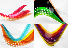 Set of abstract backgrounds. Curve wave lines with Stock Images