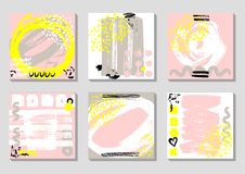 Set of Abstract backgrounds with hand drawn textures, memphis style. Universal cards, pastel colors. Retro design. Fashion art for postcard, social media stock illustration