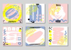 Set of Abstract backgrounds with hand drawn textures, memphis style. Universal cards, pastel colors. Retro design. Fashion art for postcard, social media royalty free illustration