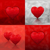 Set of abstract backgrounds with hearts in modern triangle style Stock Image