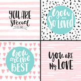 Set with romantic backgrounds. Set with abstract backgrounds and romantic inscriptions for Valentine`s Day and others. Collection of romantic greeting cards in royalty free illustration