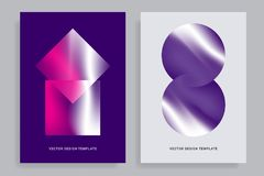 Design templates with vibrant gradient shapes. Set of abstract backgrounds with vibrant gradient shapes. Design template for covers, placards, posters, flyers Stock Photos