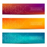Set of abstract banner design, dna molecule structure background. Geometric graphics and connected lines with dots. Scientific and technological concept stock illustration