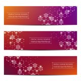 Set of abstract banner design, dna molecule structure background. Geometric graphics and connected lines with dots Stock Photography
