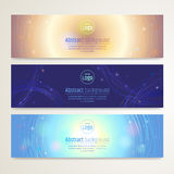 Set of abstract banner design with line sparkle background in ve Stock Images