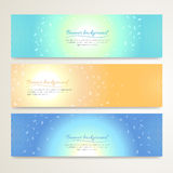 Set of abstract banner design with luminous background in vector Royalty Free Stock Image
