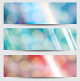Set of Abstract  banners with blurred background. And bokeh lights Royalty Free Stock Images