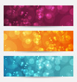 Set of abstract banners with bokeh effect. Illustration set of abstract banners with bokeh effect - vector Royalty Free Stock Images