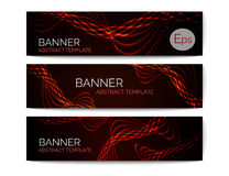 Set of 3 abstract banners. Dark template with shiny wave. Vector banner. Stock Photography