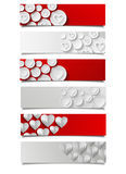 Set of abstract banners with hearts Royalty Free Stock Photos