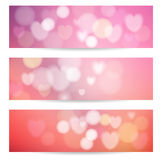 Set of abstract banners with lights,hearts, bokeh Stock Images