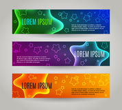 Set of 3 abstract banners with multiple stars. Set of 3 abstract banners with multiple colored stars stock illustration
