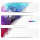 Set of abstract banners, vector design. Polygons, grid and sparks. Samples of your text. Vector Illustration, Graphic Design Useful For Your Design Stock Image