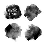 Set of abstract black ink blots Royalty Free Stock Photography