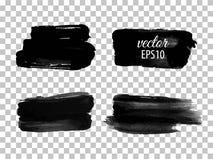 Set of abstract black ink blots Royalty Free Stock Photos