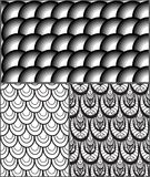 Set of abstract black and white patterns with scales. Vector gray backgrounds for your design Royalty Free Stock Photography