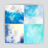 Set of Abstract blue geometric backgrounds with triangular polyg Royalty Free Stock Photo
