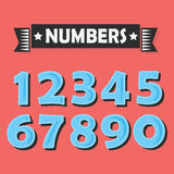 Set of abstract blue numbers with black shadow. On red coral color background Stock Photo