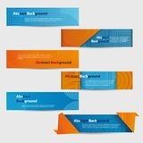 Set of Abstract Blue and Orange Banners Stock Photo