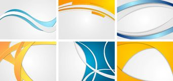Set of abstract blue and orange wavy backgrounds stock illustration