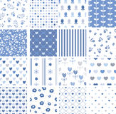 Set of abstract blue seamless patterns. Set of seamless vector patterns . For wedding, anniversary, birthday, Valentine`s day, party invitations. Vector Stock Photos